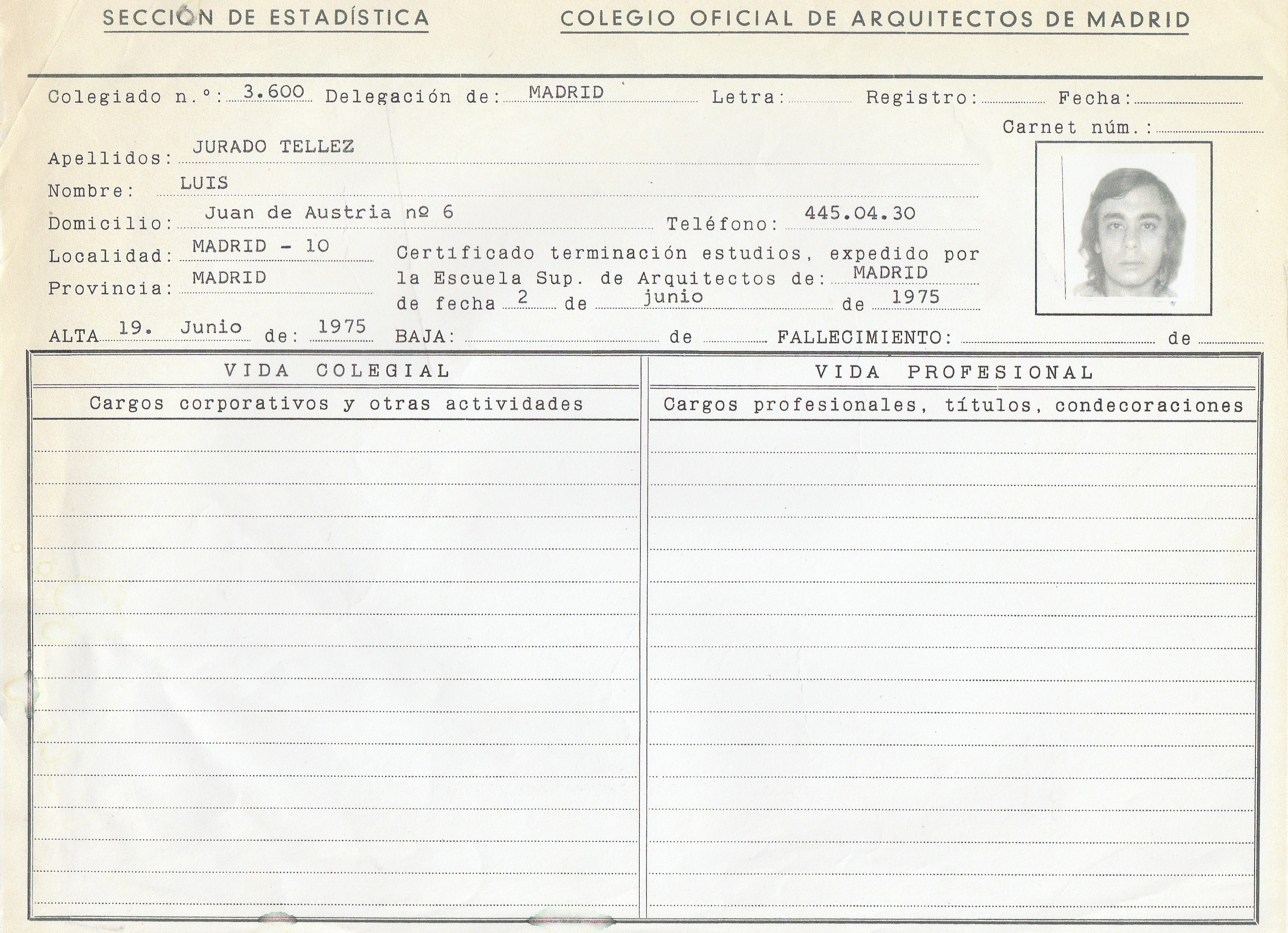 Luis Jurado en ficha COAM