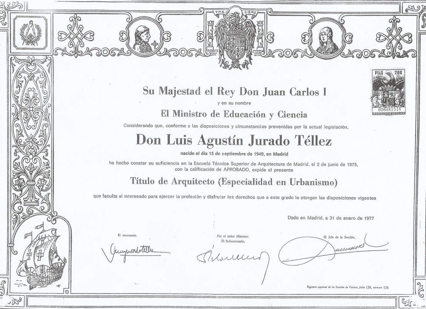 Luis Jurado titulo de arquitecto